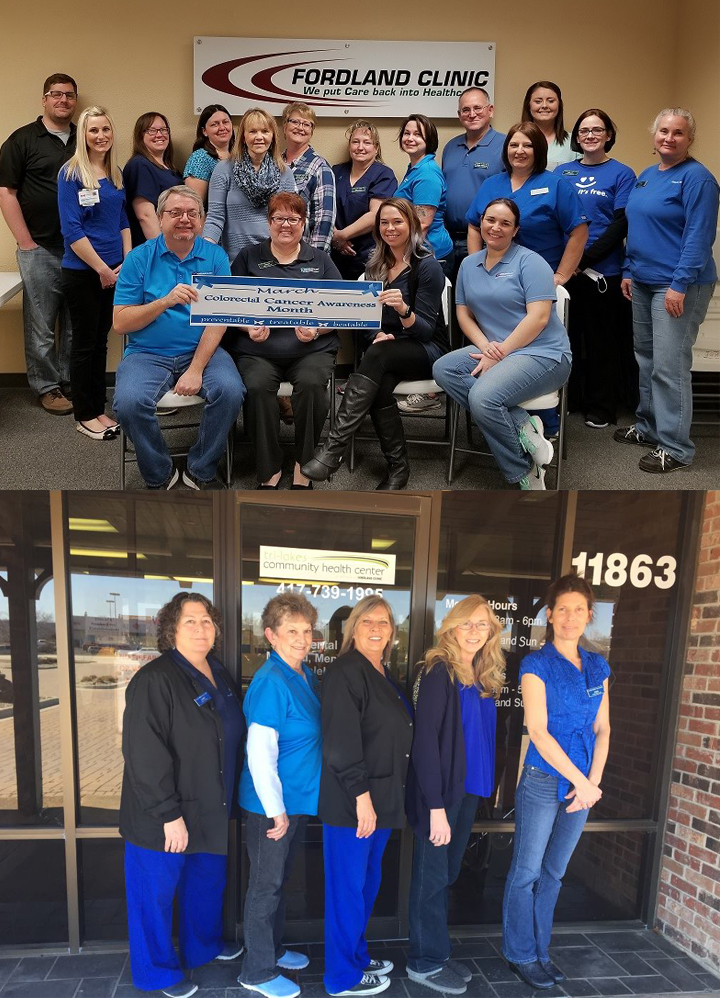 Fordland Clinic and Tri-lakes CHC Staff Wearing Blue
