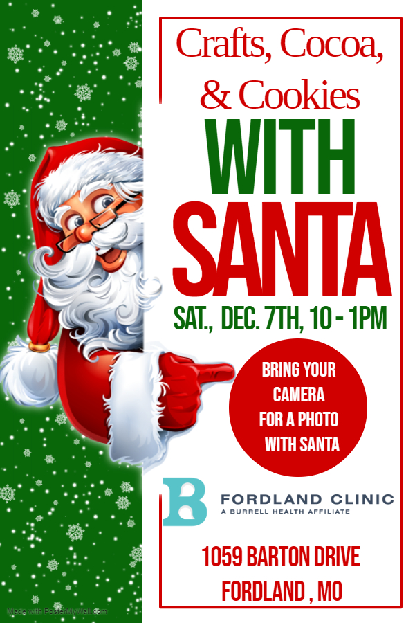 flyer for event with Santa Claus dec. 7th